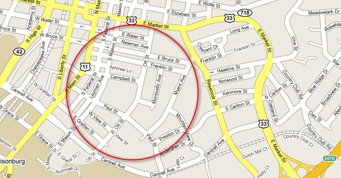 Old Town Neighborhood Map Harrisonburg Virginia Harrisonblog