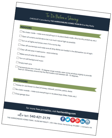 Sell Your Home Without Stress: Free Printable Pre-Showing Checklist | The Harrisonburg Homes Team
