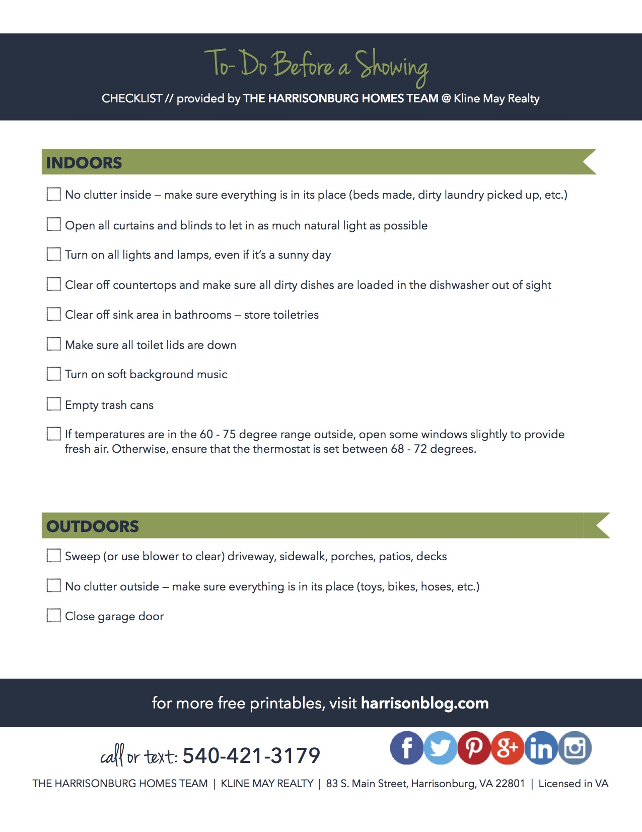 Home for Sale: Printable Pre-Showing Checklist | The Harrisonburg Homes Team